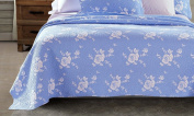 Calla Angel Rose Melody Luxury Hand Made Pure Cotton Quilt, 270cm x 240cm , Light Blue