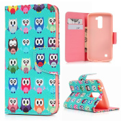 LG K10 Case - Cute Wallet Colourful Painting Flip Folio Premium PU Leather Fold Pouch Case with [Kickstand] Magnetic Closure, Card Slot Holders, Soft TPU Rubber Inner Case By BADALink - Colourful Owls
