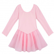 YIZYIF Girls Kids Long Sleeve Gymnastics Dance Dress Stretchy Ballet Tutu Leotard Skirt