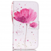 Galaxy S5 Case,Galaxy S5 Neo Case,Galaxy S5/S5 Neo Wallet Case,PHEZEN PU Leather Magnetic Closure Stand Flip Cover Credit Card ID Holders with Pink Flower Pattern for Samsung Galaxy S5/S5 Neo,Lotus