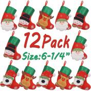 LimBridge 12pcs Mini Christmas Stockings Gift & Treat Bag, for Favours and Decorating