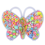 Angielucky Multicoloured DIY Bead Set Educational Toys Christmas Gifts in Butterfly Case for Girls