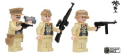 German Wehrmacht Africa Corps WW2 Soldiers 3 men team : Pack of WWII Action Figures and weapons - Custom Military Brick Builder Minifigures by CombatBrick