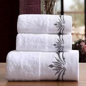 100% Organic Cotton White with Grey Silver Tree Embroidery Decorative 3pcs Bath Towel Set