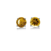 Citrine Stud Earrings - 3.7 CT Total - CORTINA - Claw Set in 925 Sterling Silver Post