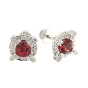D'sire 18k White Gold Diamond (TDW 0.176 carats) & Red Andesine Stud Earrings