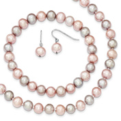 """Sterling Silver Pink Grey 7-8mm Freshwater Cultured Pearl 18"""" Necklace, Earrings & Stretch Bracelet Set"""