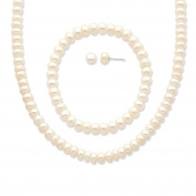 """925 Sterling Silver White 6-7mm Freshwater Cultured Pearl 18"""" Necklace, Earrings & Stretch Bracelet Set"""