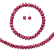 """925 Sterling Silver Red 6-7mm Freshwater Cultured Pearl 18"""" Necklace, Earrings & Stretch Bracelet Set"""
