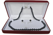 "Long 36"" inch set Genuine 8-9mm 8mm 9mm ROUND Black Strand Pearl Necklace Stud Earrings Cultured Freshwater"