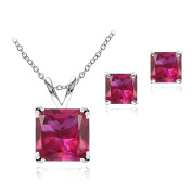 Sterling Silver Simulated Gesmtone Square Solitaire Necklace & Stud Earrings Set