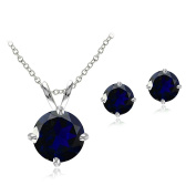Sterling Silver Simulated Gemstone Round Solitaire Necklace & Stud Earrings Set
