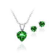 Sterling Silver Simulated Gemstone Heart Solitaire Necklace & Stud Earrings Set