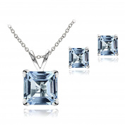 Sterling Silver London or Swiss Blue Topaz Square Solitaire Necklace & Stud Earrings Set