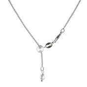 Sterling Silver Adjustable Rounded Box Chain Necklace 1mm 16-22""