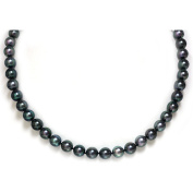 Saltwater Akoya Pearl Necklace 9 - 8.5 mm Black Green AAA 14kt White Gold Clasp