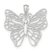 14K White Gold Large Butterfly Charm Pendant