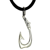 Sterling Silver Fish Hook Pendant Necklace, 46cm