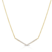Diamond Bar V Shape Necklace 1/5 cttw in 14k Yellow Gold