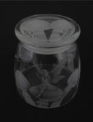 Hand Etched Vibe Storage Jar 800ml Permanently Sandblasted (Sand Carved) Glass Mystical Fairy Mushrooms Handmade USA