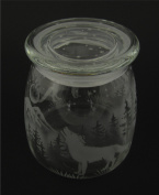 Hand Etched Vibe Storage Jar 800ml Permanently Sandblasted (Sand Carved) Howling Wolf Forest Mountains Moon Handmade USA
