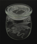 Hand Etched Vibe Storage Jar 800ml Permanently Sandblasted (Sand Carved) Glass Mystical Dragon Handmade USA