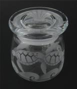 Hand Etched Vibe Storage Jar 360ml Permanently Sandblasted (Sand Carved) Sea Turtles Waves Handmade USA