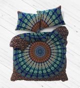 NANDNANDINI - A perfect christmas Gift Exclusive Blue Queen Size Mandala DUVET COVER WITH PILLOWCASES Indian Duvet Doona Cover Queen Size Cover Boho Bedding Doona Set Blanket QUILT Cover Duvet cover