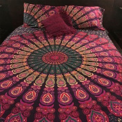"""NANDNANDINI- A perfect christmas Gift Queen Duvet Cover Set With Pillow Covers By """"The Boho Street"""", Indian Reversible Duvet Cover Quilt Cover Flower Coverlet Bohemian Doona Cover Handmade Duvet Cover"""