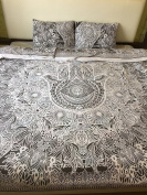 NANDNANDINI- perfect christmas gift Queen Size 100% Cotton Duvet Cover Set With Pillow Covers Indian Reversible Duvet Quilt Cover Coverlet Bohemian Doona Cover Handmade Duvet Cover