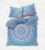 NANDNANDINI- Exclusive Blue Ombre Mandala Duvet Cover, Queen size Blanket, Quilt Cover, Indian Bedspread, Bohemian Bedding, Double Bedspread With pillow cases Cotton Doona cover , Duvet cover