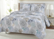 Carolina Floral Quilt Set - Garden Blooms of Teal Taupe Blue Grey and Tan Flowers - Queen
