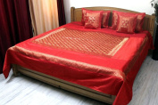 Stylo Culture Bedspread Modern Brocade Self Design Polydupion Bed Cover Elephant Bedding Orange