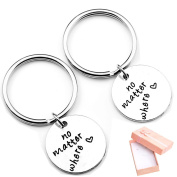 Top Plaza 2pcs/Set No Matter Where keychain, Best Friends, Husband and Wife, Sister Gift, Gifts for Him & Her, Valentines Gift