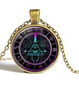 """Gravity Falls Bill Cypher Wheel Scrabble Pendant,Unique Hand Designed Gravity Falls """"Psychadelic"""" Bill Cypher Inspired Pendant Necklace Jewellery Gift / Gifts for Men & Women"""