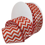 Morex Ribbon 7421.60/50-609 French Wired Peppermint Chevron Polyester Ribbon, 6.4cm /50 yd., Red/White