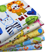iNee 5 Fat Quarters Zoo Animals Quilting Fabric Bundles Sewing DIY Craft, 46cm x 60cm