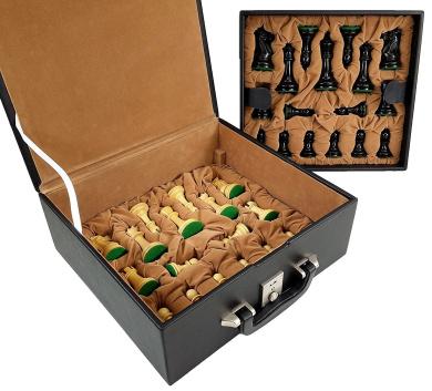 4 Queens - 9.5cm King Staunton Black Wood Classic Chess Men Set W/ Tray Storage Box - NO Board