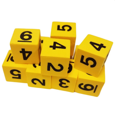 Set of 10 Yellow Foam Dice 6 Sided Black Numbers 16mm Square Corner in Snow Organza Bag