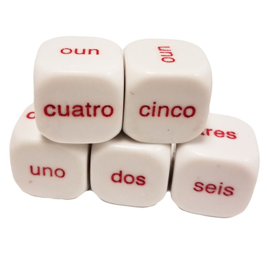 Set of 5 Educational Dice Word Numbered Spanish - Numeros español 19mm White in Snow Organza Bag