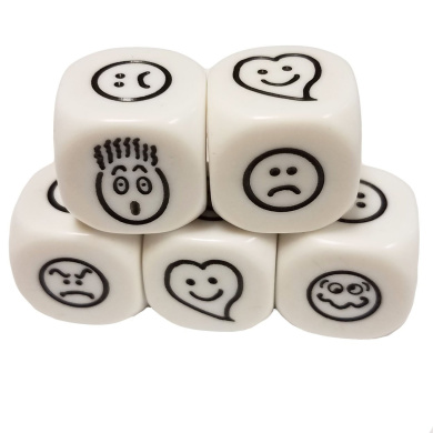 Set of 5 Educational Dice 6 Sided Smiley Faces Emojis Emoticons 16mm White Black in Snow Organza Bag