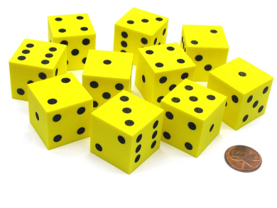 Set of 10 D6 Large 25mm Foam Dice - Yellow with Black Spots