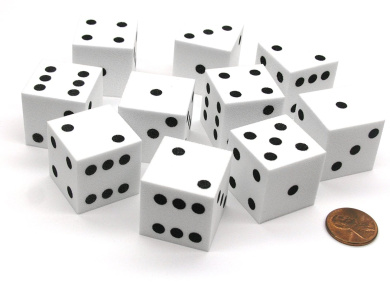 Set of 10 D6 Large 25mm Foam Dice - White with Black Spots