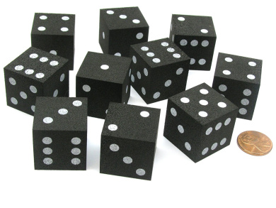 Set of 10 D6 Large 25mm Foam Dice - Black with White Spots