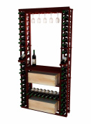 Wine Cellar Innovations RP-CM-GRCASEDSKIT-A3 Traditional Series Tasting Centre Bundle Glass, Table top, Individuals and Wood Wine Case or Bulk Storage Wine Rack, Rustic Pine, Classic Mahogany Stain