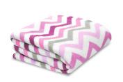 Little Starter Plush Toddler Blanket, Pink Chevron