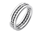 G & H Sterling Silver Size 7 Multi Band Bead Ring