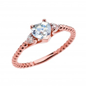 10k Rose Gold Dainty White Topaz and Heart Aquamarine Beaded Stackable/Promise Ring