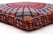 OVERSIZED Indian Floor Cushion Cover Blue Peacock Mandala Tapestry Large Square Pillow Cover Ottoman Pouffe Bohemian Meditation Seating Throw By Handicraftspalace
