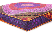 EXCLUSIVE Indian Square Urban Mandala Design Floor Pillow Cover Ottoman Pouffe Cushion Case Hippie Meditation Throw Outddor Bed Dog / Pets Bed